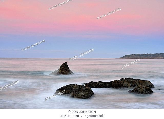 Rocky coastline at dawn on the California Coast, Morro Bay, California, USA