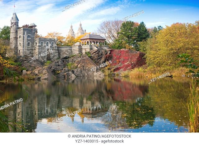 Belvedere Castle and reflection on Turtle Pond, Central Park