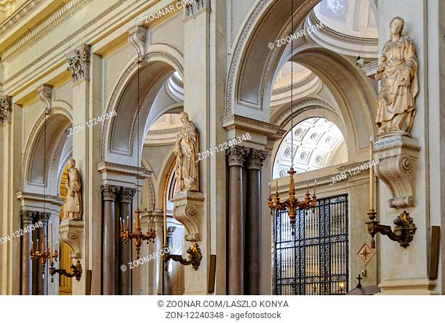 Statues of Saints in the aisle of the Cathedral (Duomo) of Palermo dedicated to the Assumption of the Virgin Mary - Palermo, Sicily, Italy