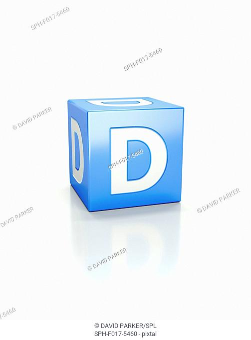 Blue cube with letter D