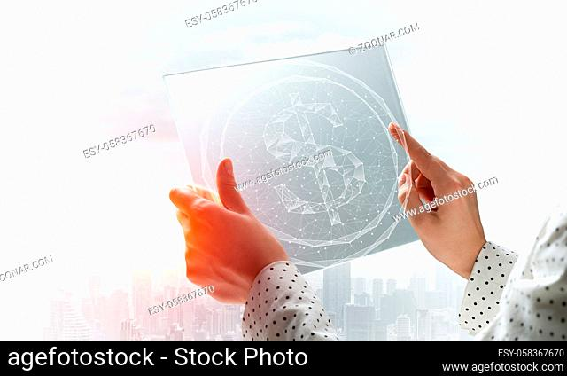 Businesswoman works with futuristic interface. Virtual geometric graphics with plexus effect and digital hologram. Double exposure concept of internet network...