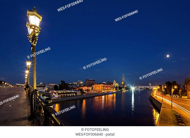 Russia, Moscow, Patriarshy Bridge, Moskva river and Peter the Great Statue, Expo-Park, Blue hour