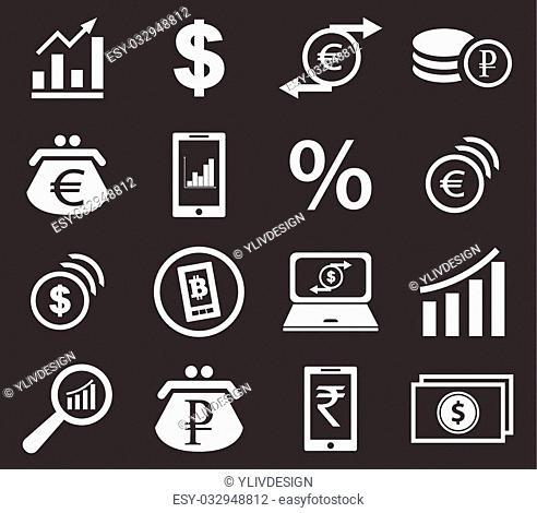 Finance icon set 2, simple white image on black background