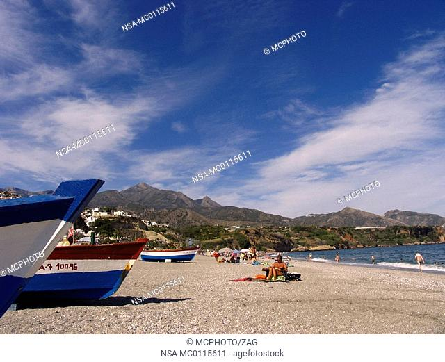 Playa Burriana, Nerja, Malaga, Andalucia, Spain, Costa del Sol