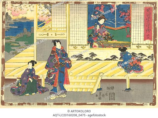 Elegantly dressed man standing on porch, looking at woman sitting in room with koto, Japanese stringed instrument, Japanese print, Kunisada (I), Utagawa