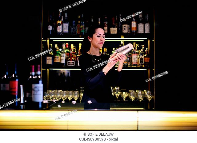 Young barmaid preparing cocktail in boutique hotel cocktail bar