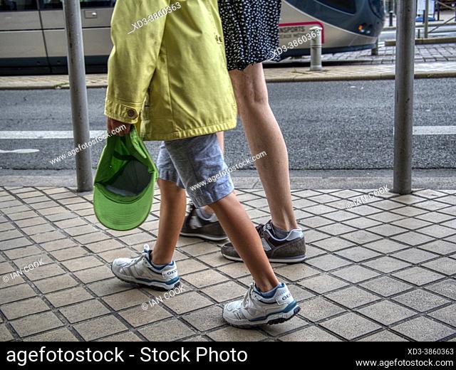 legs of people walking, Cr de 30 juillet, Bordeaux, Gironde Department, Nouvelle-Aquitaine, France