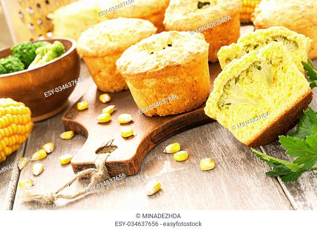 Corn muffins with broccoli on the table