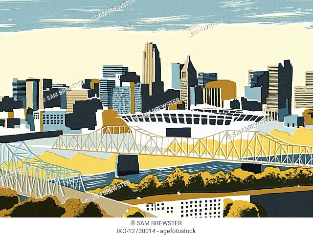 Illustration of Cincinnati cityscape