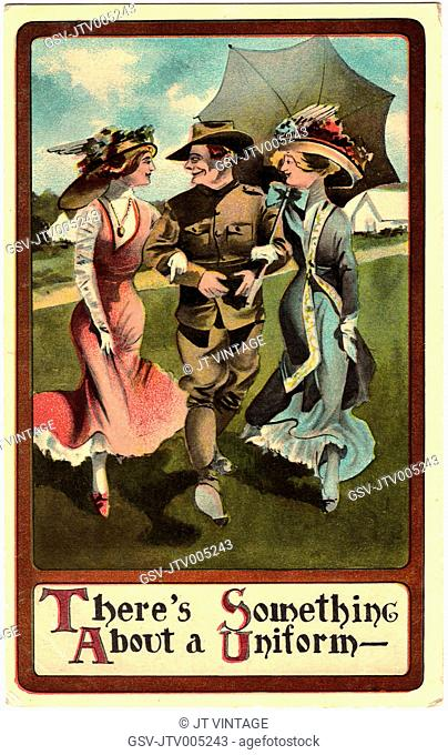 Two Women Walking Arm-in-Arm with Soldier, There's Something About a Uniform, WWI Postcard, circa 1917