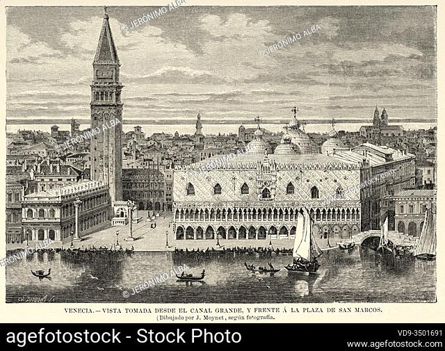 Panoramic general view of the city of Venice seen from the Canal Grande and in front of St. Mark Square. Italy, Europe. Old 19th century engraved illustration...