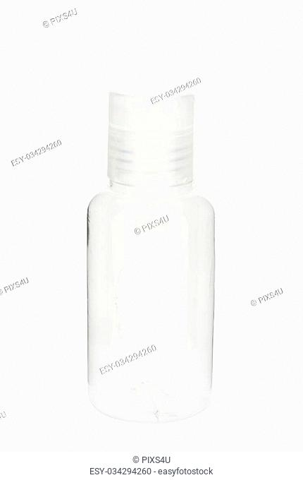 Empty cosmetic clear bottle isolated on white background