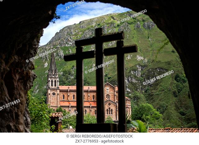 View on Sanctuary of Covadonga in Cangas de Onis, Picos de Europa, Asturias, Spain. One of the stops of the Transcantabrico Gran Lujo luxury train