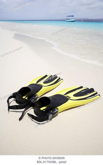pair of fins on sandy beach