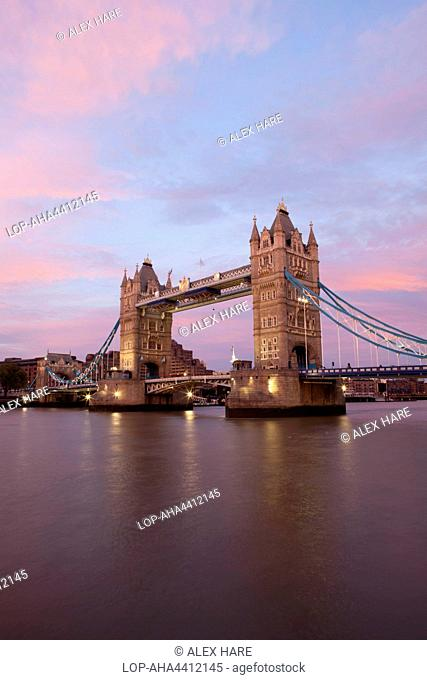 A view of Tower Bridge at sunset