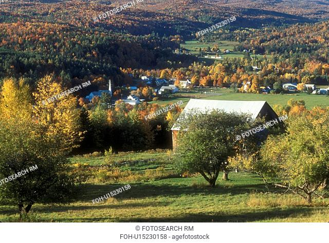 fall, Worcester, VT, Vermont, Scenic view of the village of Worcester in the autumn