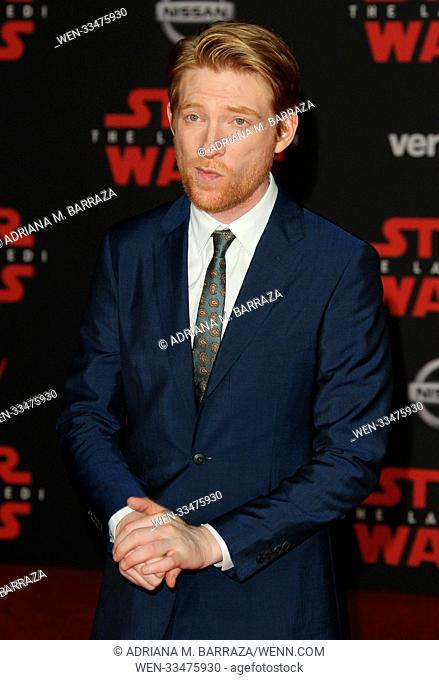 """Star Wars: The Last Jedi"" Premiere held at the Shrine Auditorium in Los Angeles, California. Featuring: Domhnail Gleeson Where: Los Angeles, California"