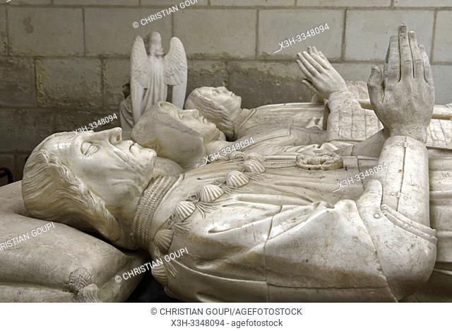 recumbent effigy of Imbert Batarnay and his family inside the Church of St. John the Baptist of Montresor, Touraine, department of Indre-et-Loire