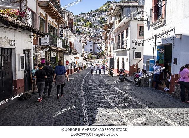 Streets of Taxco de Alarcon, State of Guerrero, Mexico