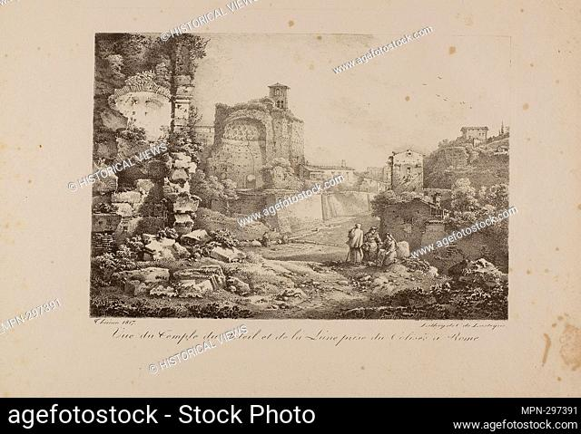 Author: Claude Thinon. View of the Temple of the Sun and Moon from the Coliseum in Rome - 1817 - Claude Thinon (French, 1772-1846) printed by Comte de Charles...
