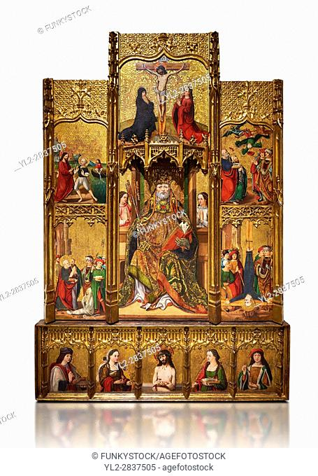 Gothic painted bas-relief of Life of St Peter by Joan Gasco. Polycchrome and gold leaf on wood. Date Circa 1516. From the church of Santa Maria of Palautordera...