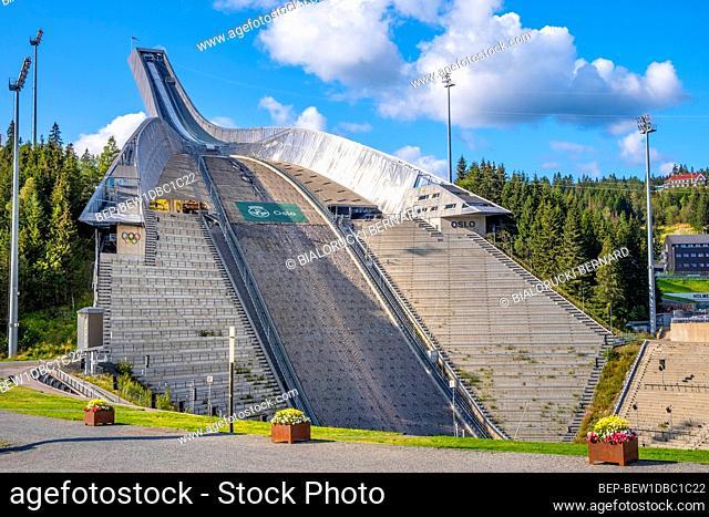 Oslo, Ostlandet / Norway - 2019/09/02: Panoramic view of Holmenkollen ski jumping hill - Holmenkollbakken - an Olympic size ski jump facility after 2010...