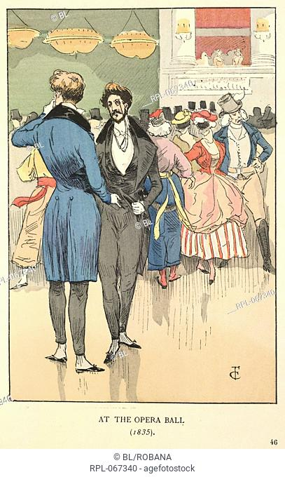 At the Opera Ball 1835. Two gentlemen talking. One wears a blue jacket and the other, a grey jacket. One has a monocle. Image taken from Fashion in Paris: the...