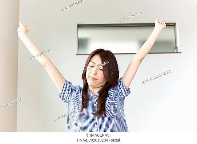 A woman having a stretch