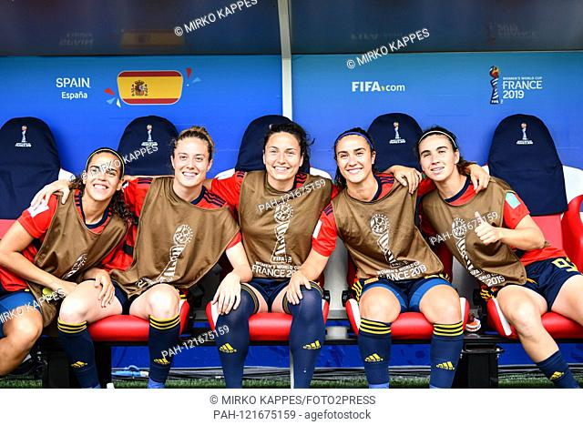 Andrea Falcon (Spain) (21) Celia Jimenez (Spain) (2) Ivana Andres (Spain) (5) Nahikari Garcia (Spain) (22) Mariona Caldentey (Spain) (9) on the bench before the...