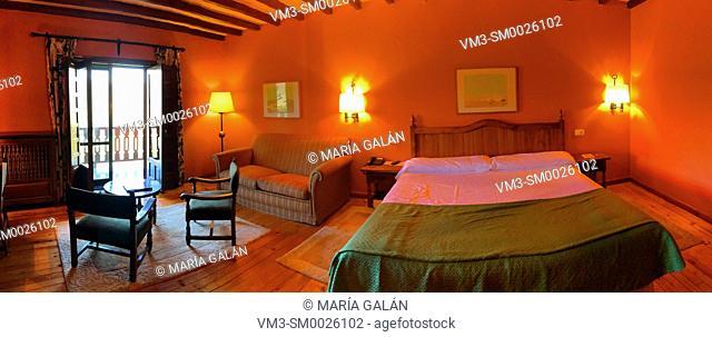 Bedroom, panoramic view. Parador, Cervera de Pisuerga, Palencia province, Castilla Leon, Spain