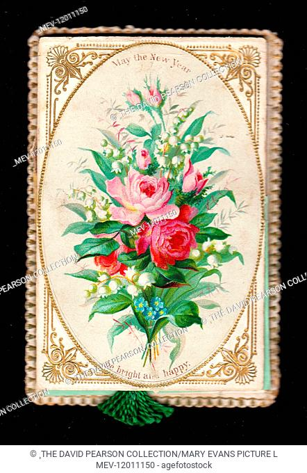 Assorted flowers, including pink roses, on a New Year card, with a decorative gold and white border