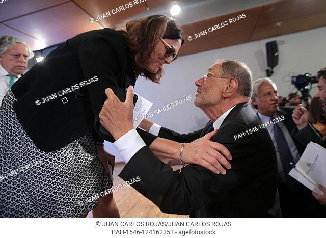 Madrid Spain; 10/09 / 2019.- Anna Cecilia Malmstonm and Javier Solana Spanish politician.Cecilia Malmström European Commissioner for Trade