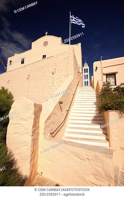 Stairs leading to the Cathedral of Saint George in Ano Syros, Syros, Cyclades Islands, Greek Islands, Greece, Europe