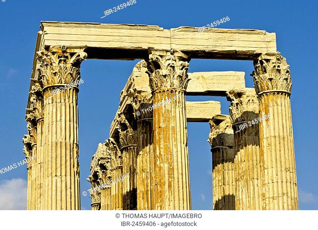 View of the columns of the Temple of Olympian Zeus, Olympieion, Athens, Greece, Europe
