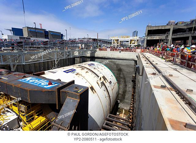 Members of the public gathered to view the tunneling machine, nicknamed Bertha, on July 20, 2013 in Seattle. The bored road tunnel is replacing the Alaskan Way...