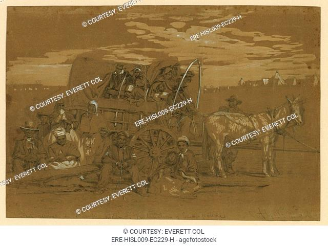 Arrival of an African American family in a Union army camp in January 1863, in a horse drawn covered wagon. Sketch by Alfred R