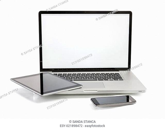 Laptop, tablet and phone with copy space on screen