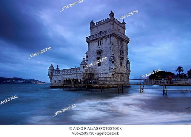 Portugal. Lisbon. Belem. Torre de Belem (Heritage) on the bank of the river Tagus. Manueline style building . Francisco de Arruda