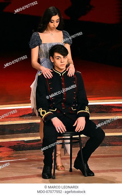 The Italian YouTuber Marco Leonardi with his dance teacher Mia Gambusi during the fourth episode of the show Ballando Con Le Stelle auditorium Rai Foro italico