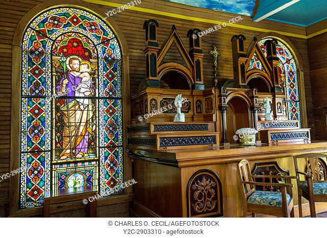 Costa Rica. Tayutic Hacienda 19th. Century Church. Italian Stained Glass Windows Date from 1886