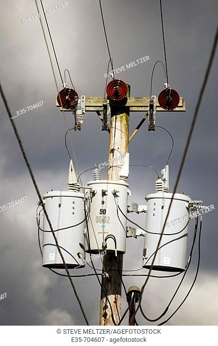 Utility pole, electric transformers and insulators, electric power transmission. PCB transformers