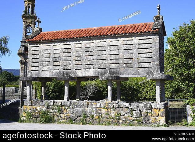 Traditional granary (horreo) of granite stone. Carnota, A Coruna, Galicia, Spain