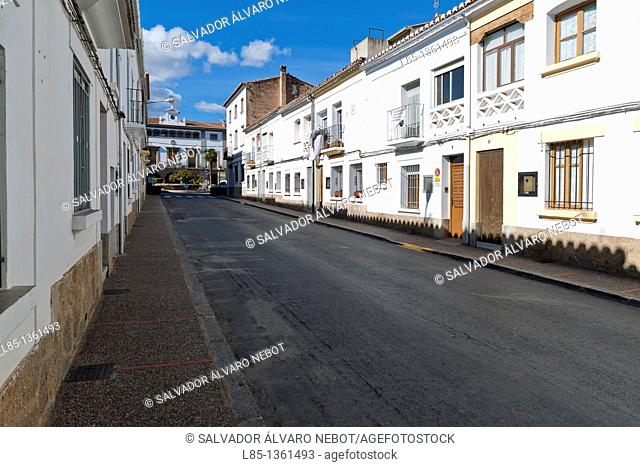 Overview of the main street of Viver, Castellón, Valencia, Spain