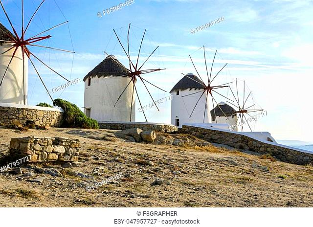 Four windmills in Chora, Mykonos, Greece. Very traditional greek whitewashed architecture, a popular landmark and tourist destination on the island of winds...