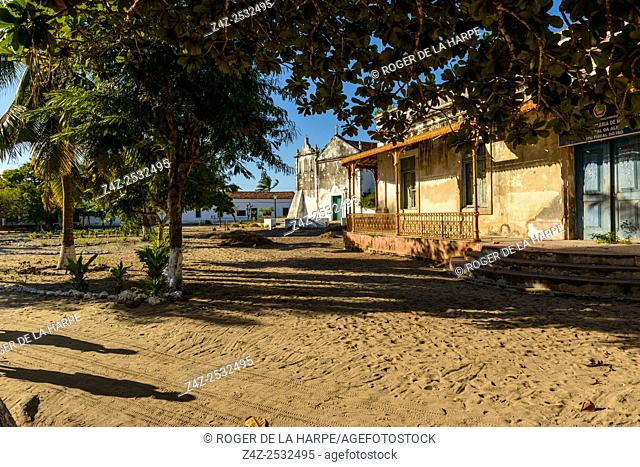 The church and old bank building on Ibo Island. Mozambique