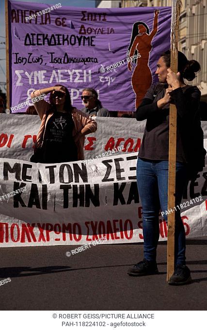 Greek women during rally at Intern. Women's Day. 08.03.2019 | usage worldwide. - Athen/Greece
