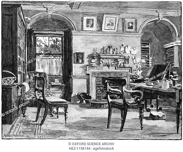 Darwin's study at Down House, his home near Beckenham, Kent, 1883. Darwin (1809-1882) was employed as naturalist on HMS Beagle from 1831-1836