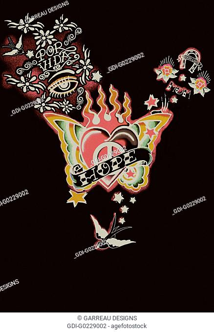 Retro heart tattoo design