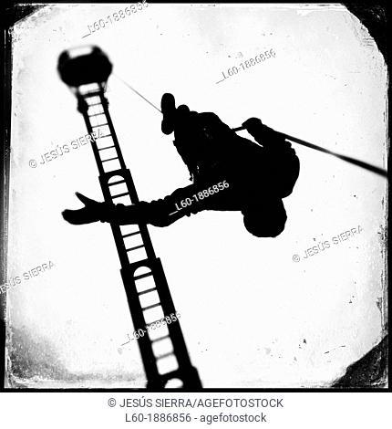 Firefighter, ladder of fire truck