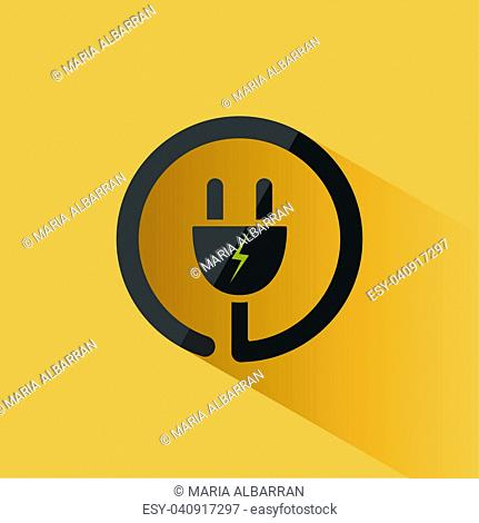 Plug icon with shadow on a yellow background